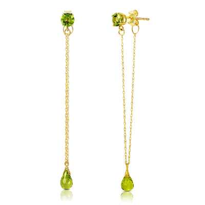 Ladies 14K Solid Gold Chandelier Earrings with Peridots - Fashion Strada