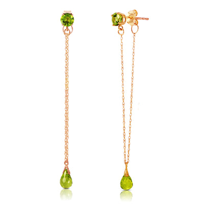 Ladies 14K Rose Gold Chandelier Earrings with Peridots - Fashion Strada
