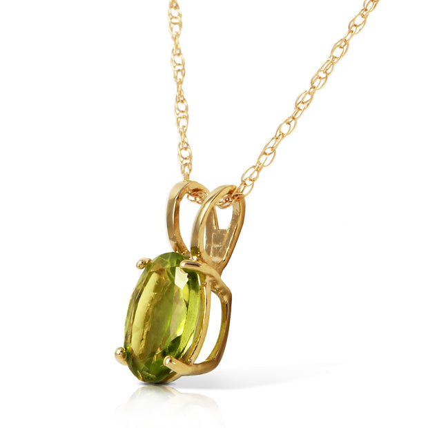 Ladies 14K Solid Gold Surprised By Joy Peridot Necklace - Fashion Strada