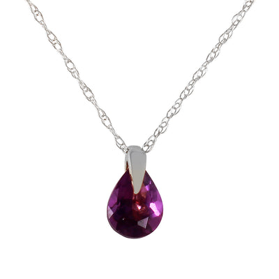 Ladies 14K White Gold Outline Of Life Amethyst Necklace - Fashion Strada