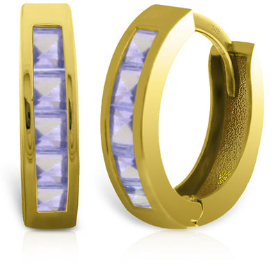 Ladies 14K Solid Gold Huggie Hoop Earrings with Tanzanites - Fashion Strada