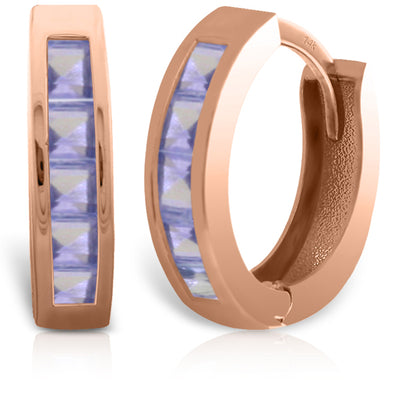 Ladies 14K Rose Gold Huggie Hoop Earrings with Tanzanites - Fashion Strada