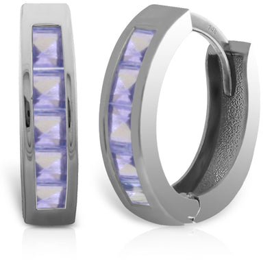 Ladies 14K White Gold Huggie Hoop Earrings with Tanzanites - Fashion Strada