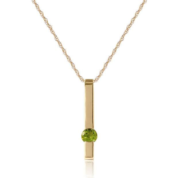 Ladies 14K Solid Gold Love Comes Naturally Peridot Necklace - Fashion Strada
