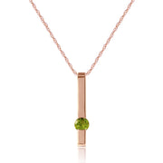 Ladies 14K Rose Gold Bar Peridot Necklace - Fashion Strada