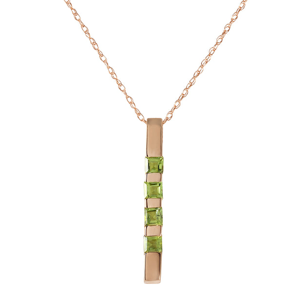 Ladies 14K Rose Gold Necklace Bar with Peridots - Fashion Strada