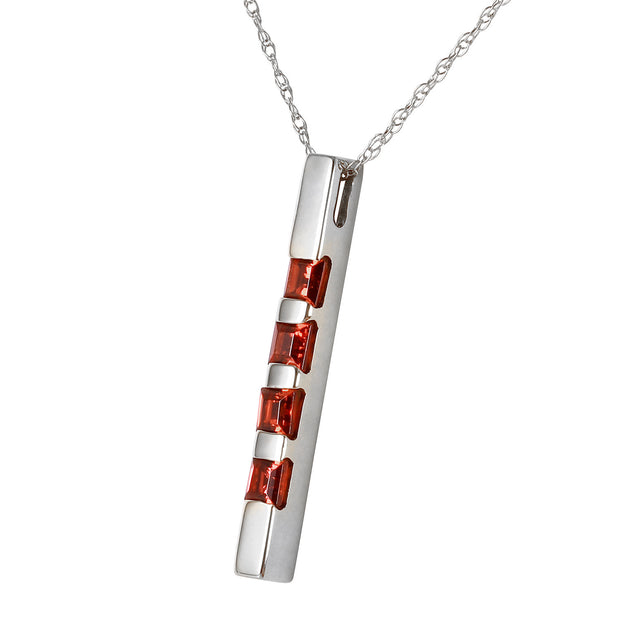 Ladies 14K White Gold Necklace Bar with Garnets - Fashion Strada