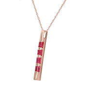 Ladies 14K Rose Gold Necklace Bar with Rubies - Fashion Strada