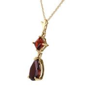 Ladies 14K Yellow Gold Love under the Rain Garnet Necklace - Fashion Strada