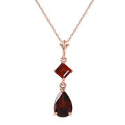 Ladies 14K Rose Gold Laughter Garnet Necklace - Fashion Strada