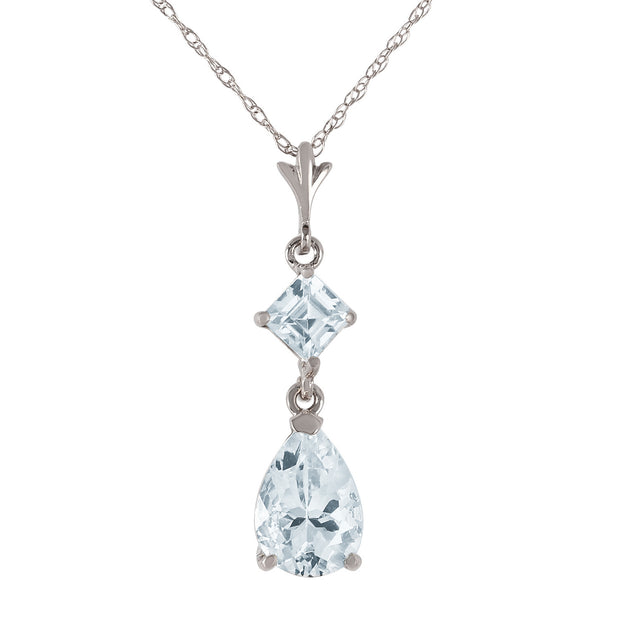 Ladies 14K White Gold Name Of The Game Aquamarine Necklace - Fashion Strada