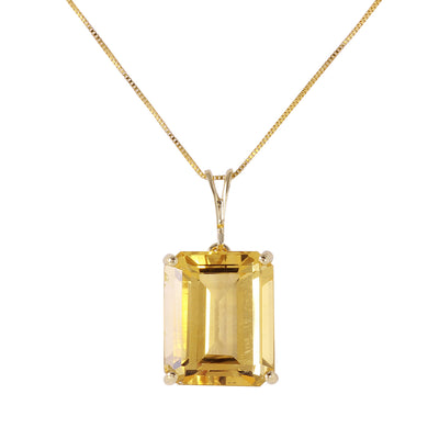 Ladies 14K Yellow Gold Necklace with Octagon Citrine - Fashion Strada