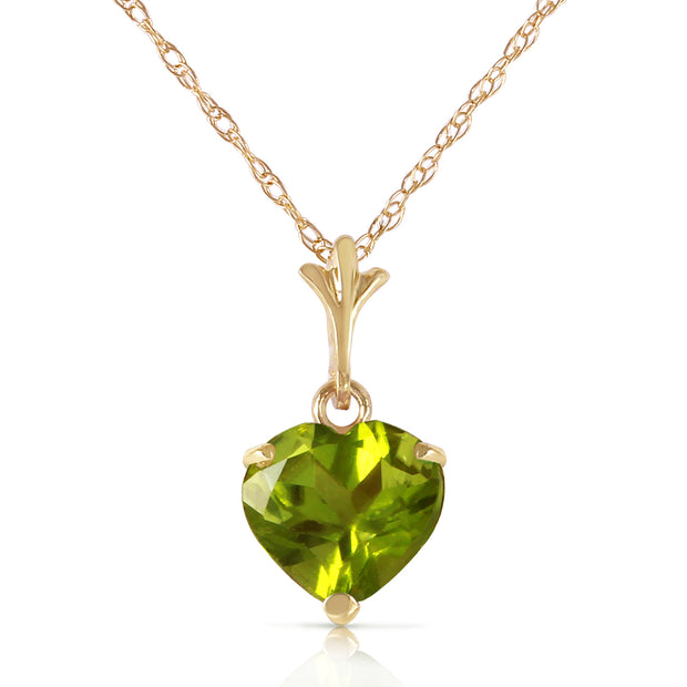 Ladies 14K Solid Gold Leap of Heart Peridot Necklace - Fashion Strada