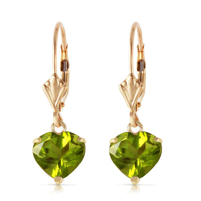 Ladies 14K Solid Gold Leverback Earrings with Peridots - Fashion Strada