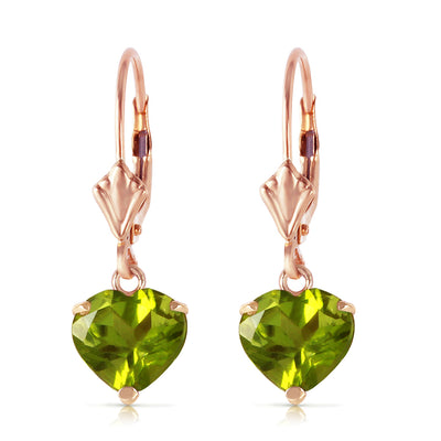 Ladies 14K Rose Gold Leverback Earrings with Peridots - Fashion Strada