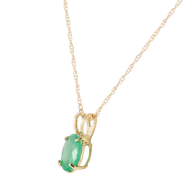 Ladies 14K Yellow Gold Necklace with Emerald - Fashion Strada