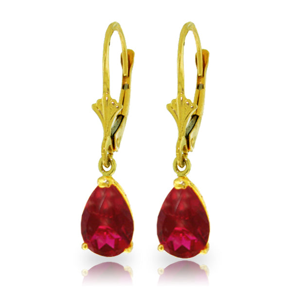 Ladies 14K Yellow Gold Leverback Earrings with Rubies - Fashion Strada