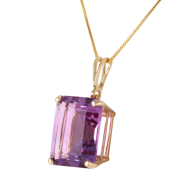Ladies 14K Solid Gold Necklace with Octagon Purple Amethyst - Fashion Strada