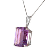 Ladies 14K White Gold Necklace with Octagon Purple Amethyst - Fashion Strada