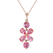 Pink Topaz 14K Rose Gold Ladies Necklace - Fashion Strada