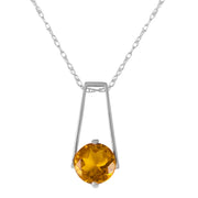 Ladies 14K White Gold Smooth Love Citrine Necklace - Fashion Strada