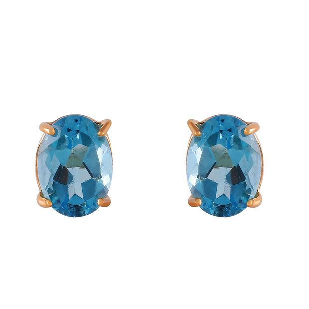 Ladies 14K Rose Gold Panache Blue Topaz Stud Earrings - Fashion Strada