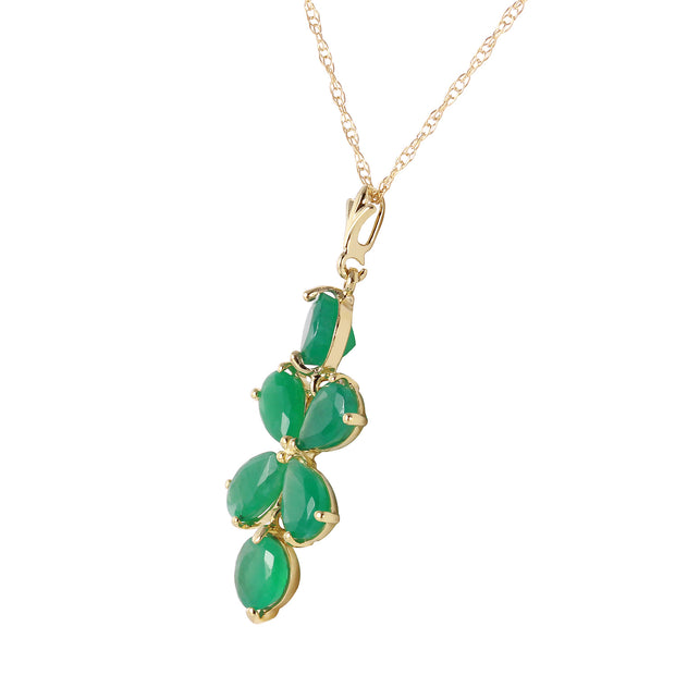 Ladies 14K Yellow Gold Spring Overflow Emerald Necklace - Fashion Strada