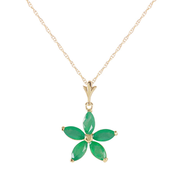 Ladies 14K Yellow Gold Lulu Emerald Necklace - Fashion Strada