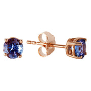 Ladies 14K Rose Gold Anna Tanzanite Stud Earrings - Fashion Strada