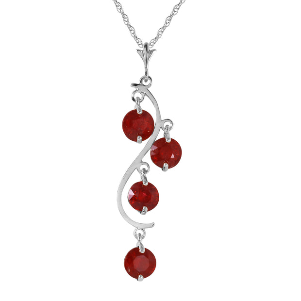 Ladies 14K White Gold Perks Of Love Ruby Necklace - Fashion Strada