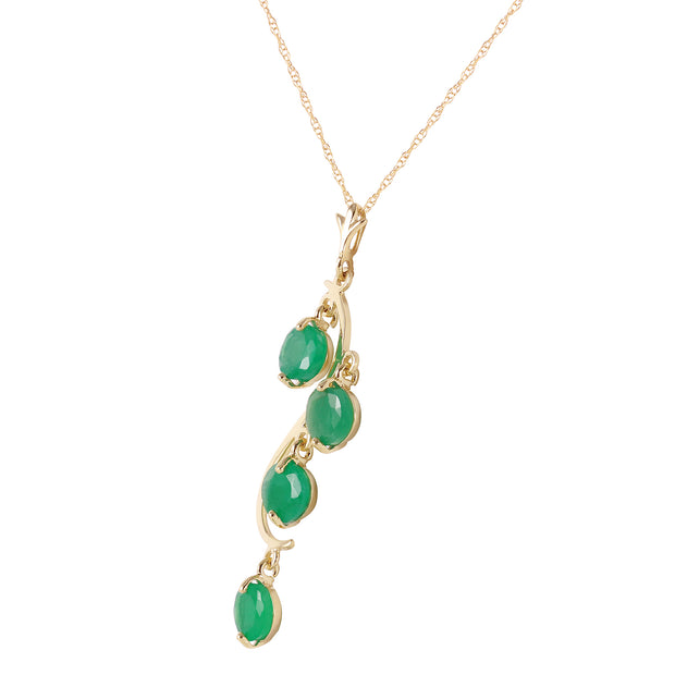 Ladies 14K Yellow Gold House of Love Emerald Necklace - Fashion Strada
