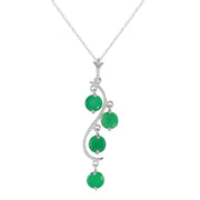 Ladies 14K White Gold Residue Of Design Emerald Necklace - Fashion Strada