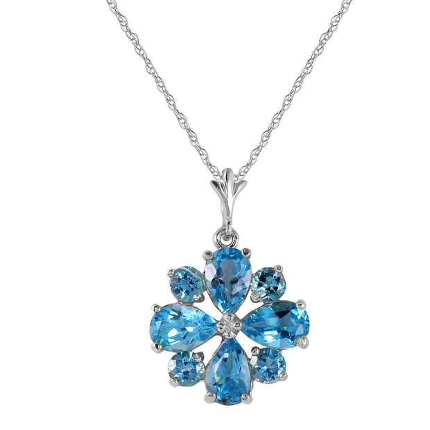 Ladies 14K White Gold Don't Haste Blue Topaz Necklace - Fashion Strada