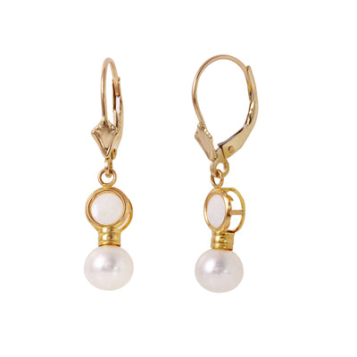 Ladies 14K Solid Gold Leverback Earrings with Pearls & Opals - Fashion Strada