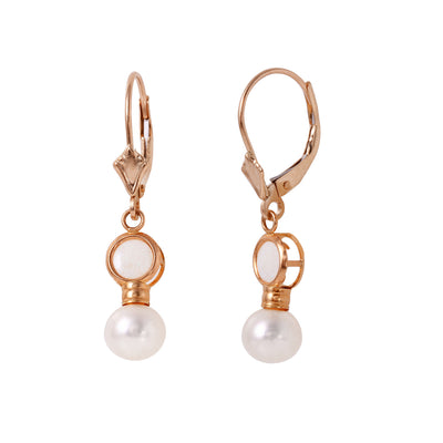 Ladies 14K Rose Gold Leverback Earrings with Pearls & Opals - Fashion Strada