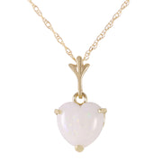 Ladies 14K Solid Gold Necklace with Heart Opal - Fashion Strada