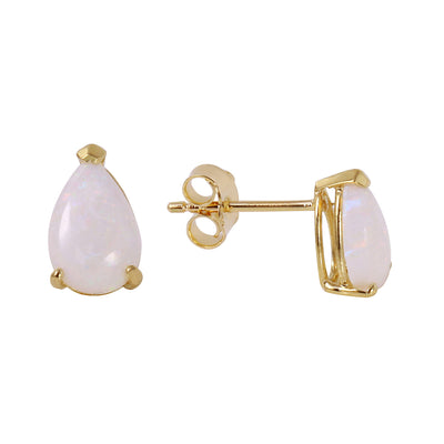 Ladies 14K Solid Gold Stud Earrings with Opals - Fashion Strada