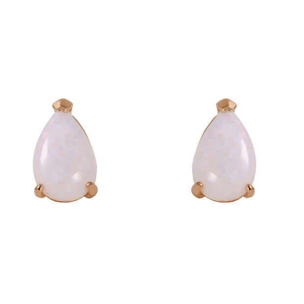 Ladies 14K Rose Gold Stud Earrings with Opals - Fashion Strada