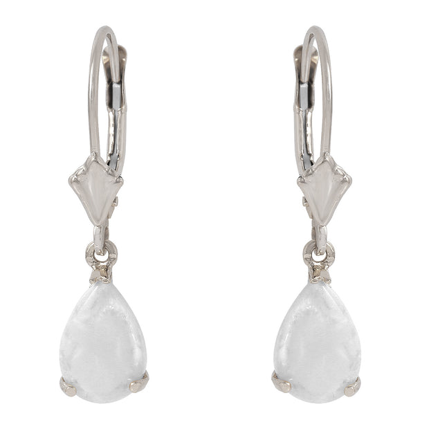 Ladies 14K White Gold Cream Of The Crop Opal Earrings - Fashion Strada