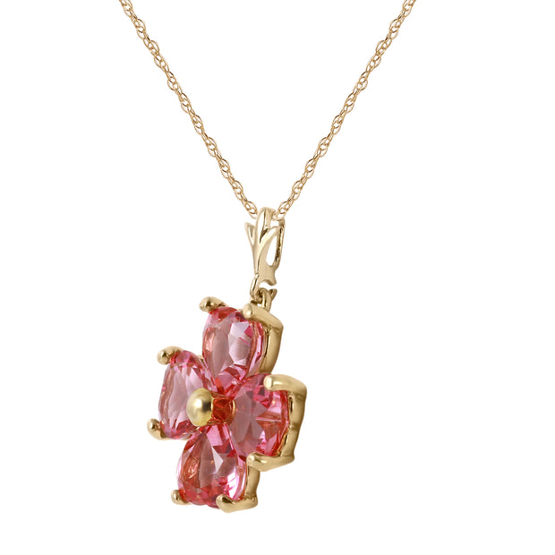 Pink Topaz 14K Yellow Gold Ladies Necklace