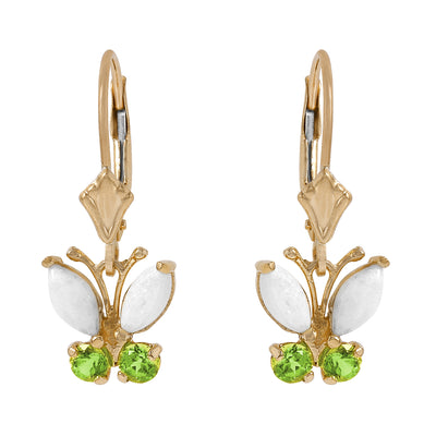 Ladies 14K Solid Gold Butterfly Earrings with Opals & Peridot - Fashion Strada