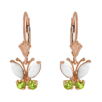 Ladies 14K Rose Gold Butterfly Earrings with Opals & Peridot - Fashion Strada