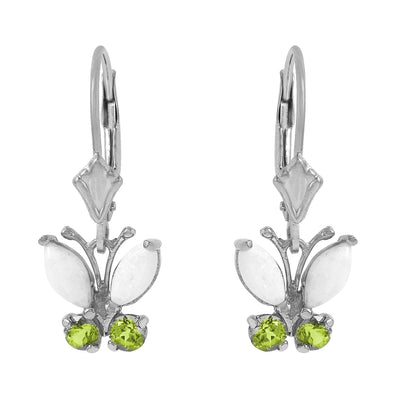 Ladies 14K White Gold Butterfly Earrings with Opals & Peridot - Fashion Strada