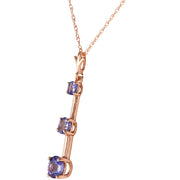 Ladies 14K Rose Gold Generosity Tanzanite Necklace - Fashion Strada