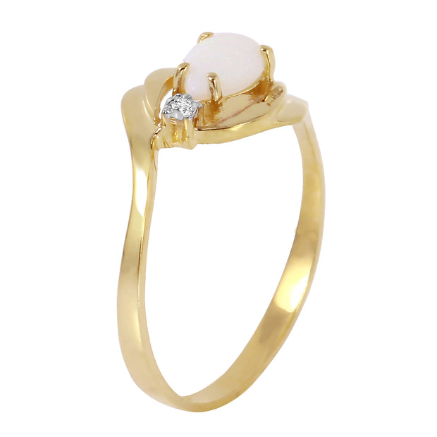 Ladies 14K Solid Gold Ring with Diamond & Opal - Fashion Strada