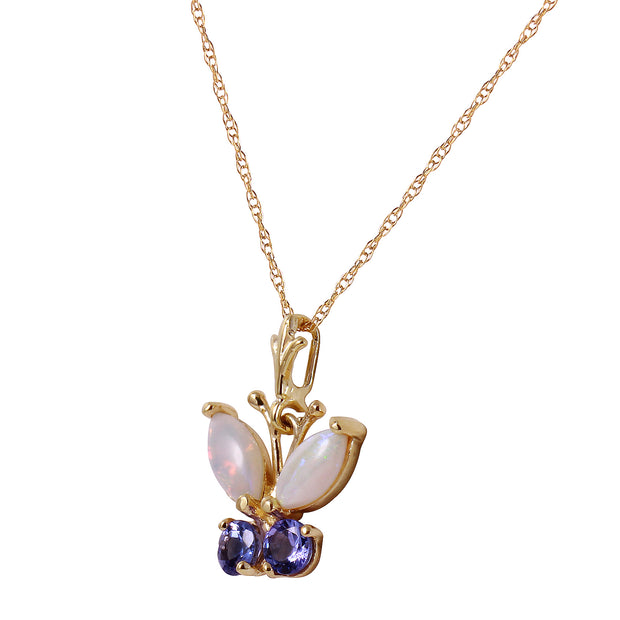 Ladies 14K Solid Gold Butterfly Necklace with Opals & Tanzanites - Fashion Strada