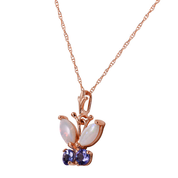 Ladies 14K Rose Gold Butterfly Necklace with Opals & Tanzanites - Fashion Strada