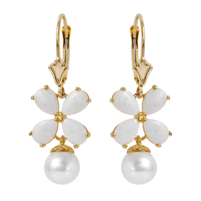 Ladies 14K Solid Gold Leverback Earrings with Opals & Pearls - Fashion Strada
