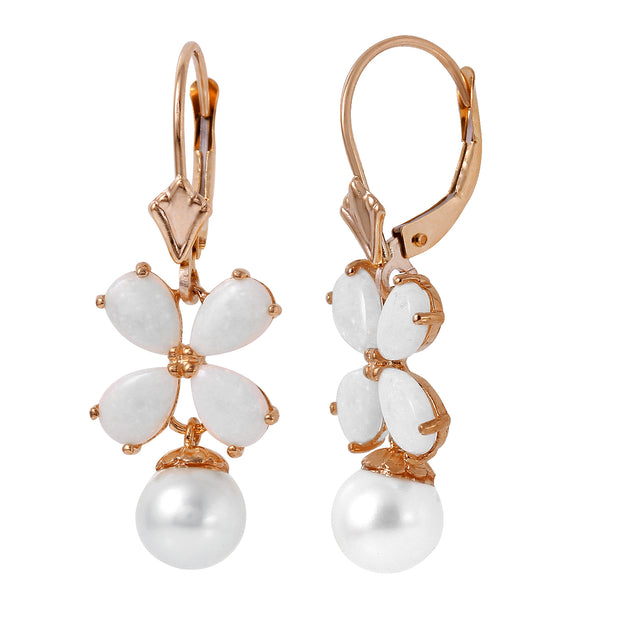 Ladies 14K Rose Gold Leverback Earrings with Opals & Pearls - Fashion Strada