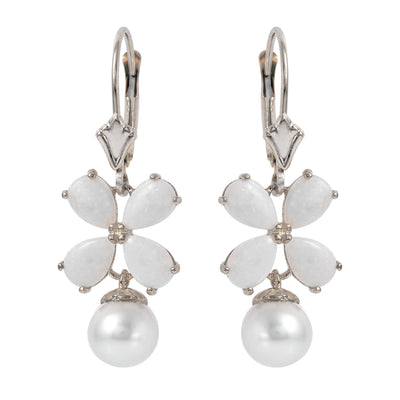 Ladies 14K White Gold Leverback Earrings with Opals & Pearls - Fashion Strada